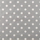 Storm Gray & White Polka Dot Duck Cloth Fabric